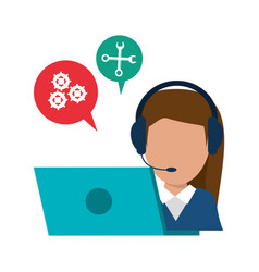 character call center laptop talking bubble vector image