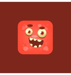 Cheeky red monster emoji icon vector