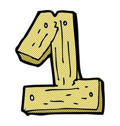 Comic cartoon wooden number one vector