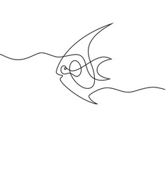 Continuous line fish vector