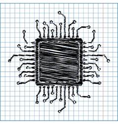 Cpu microprocesso flat style icon vector