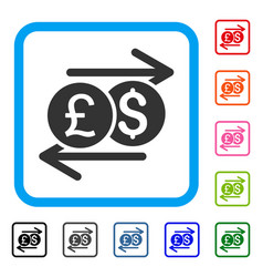 currency exchange framed icon vector image