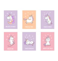 cute unicorn greeting cards with quotes and vector image vector image