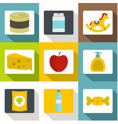 different products icons set flat style vector image