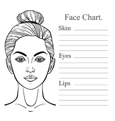 Female face chart make up artist blank vector
