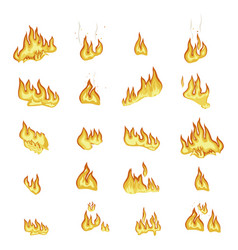 fire flame signs collection on white background vector image vector image