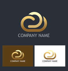 gold cloud technology logo vector image vector image