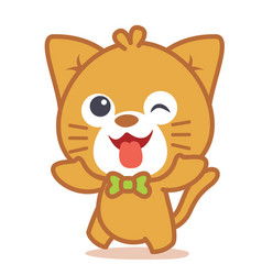 Happy cat style character vector