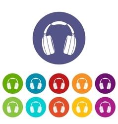 Headphones set icons vector image