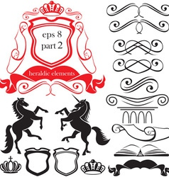 heraldic silhouettes elements vector image