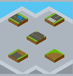 Isometric road set of sand plash rightward vector
