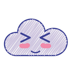 Kawaii nice funny cloud emoji vector