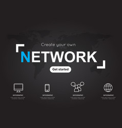 Network icons with world black map for business vector