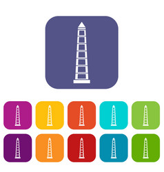 Obelisco of buenos aires icons set flat vector
