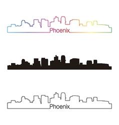 Phoenix skyline linear style with rainbow vector