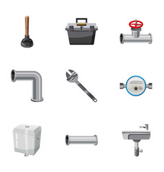 Plumbing emergency icons set cartoon style vector