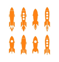 Rocket icon and rocket silhouette set vector