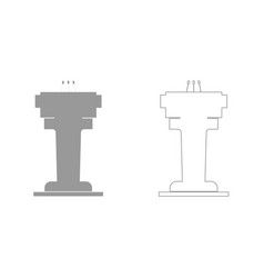 rostrum with three microphone grey set icon vector image