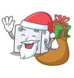 Santa with gift dice character cartoon style vector