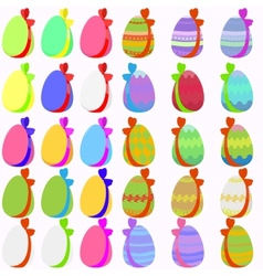Set of 30 easter eggs with bow vector image