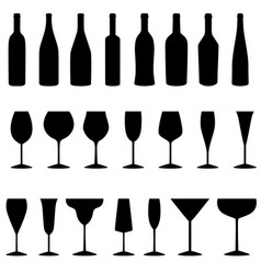 set of bottles and glasses icons vector image