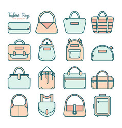 Set of colored fashion bag line icons vector