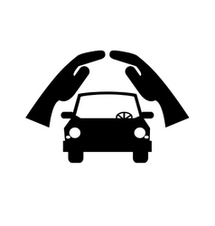 sheltering hands and car icon vector image