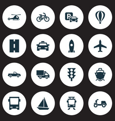 Shipment icons set collection of omnibus way vector