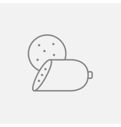 Sliced wurst line icon vector