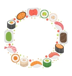 Sushi frame template with space for text Japanese vector image