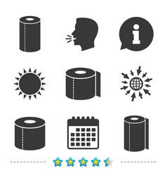 Toilet paper icons kitchen roll towel symbols vector
