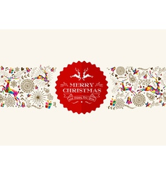 Vintage christmas reindeer greeting card vector