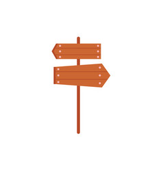 Wooden sign road post with two directional boards vector