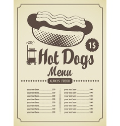 Hot dog menu vector