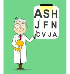 Fun cartoon ophthalmologist testing visual acuity vector