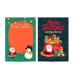 Letter to santa claus with columns for wish list vector