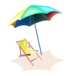 Beach chair and colorful umbrella vector