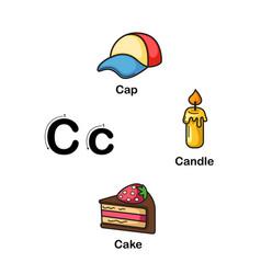 Alphabet letter c-cap candle cake vector