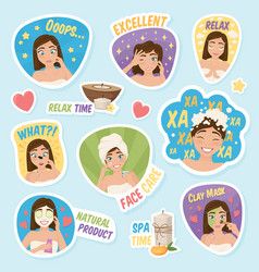 Woman morning stickers set vector