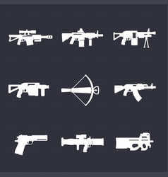 Weapons firearms icons set automatic guns sniper vector