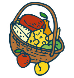 Wicker basket with goods vector
