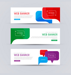 Set of white web banners with colored bubbles vector