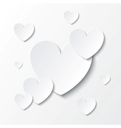 Paper hearts valentines day card on white vector
