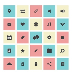 Square flat website icons set vector