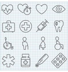 Thin line medicine icons set vector