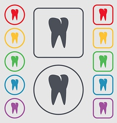 Tooth icon symbols on the round and square buttons vector