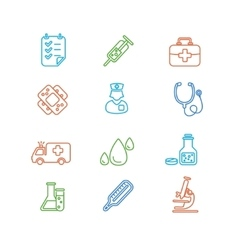 Medical colorful outline icon set vector
