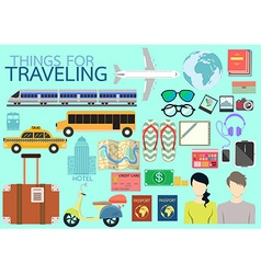 Things for traveling flat design vector