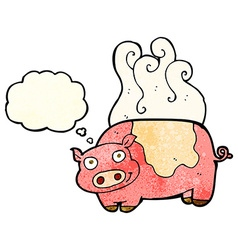 Cartoon pig with thought bubble vector
