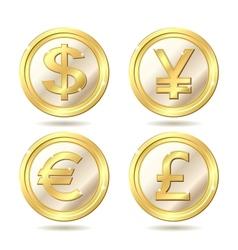 set of golden coin vector image
